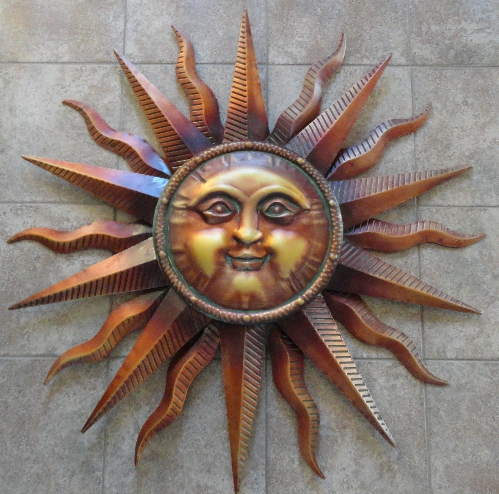 Copper Patina Sun Metal Wall Art Large Outdoor Wall Art 40 with Outdoor Sun Wall Art (Image 5 of 20)