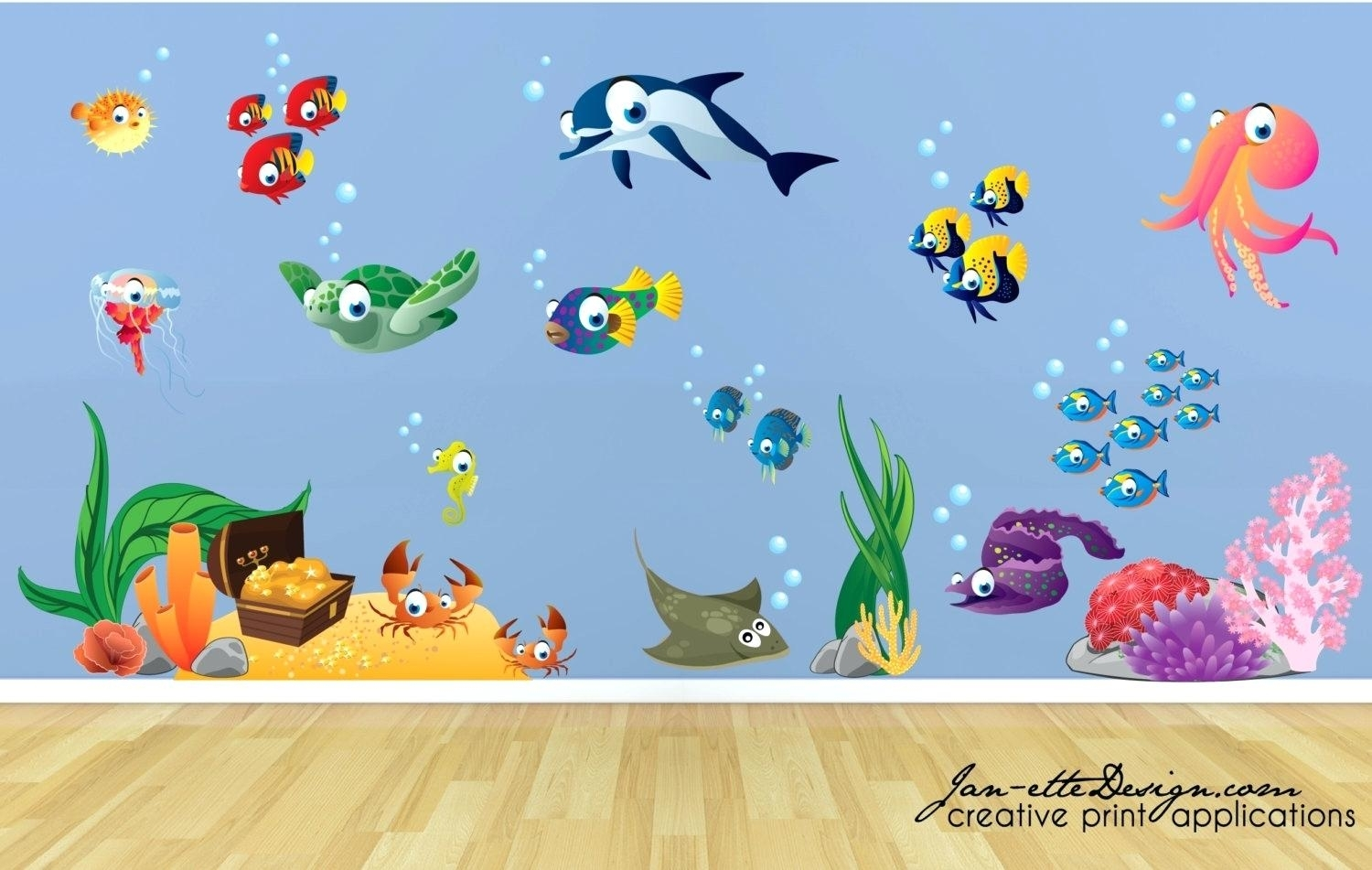 Coral Reef Wall Decals - Elitflat regarding Sea Life Wall Art (Image 3 of 20)