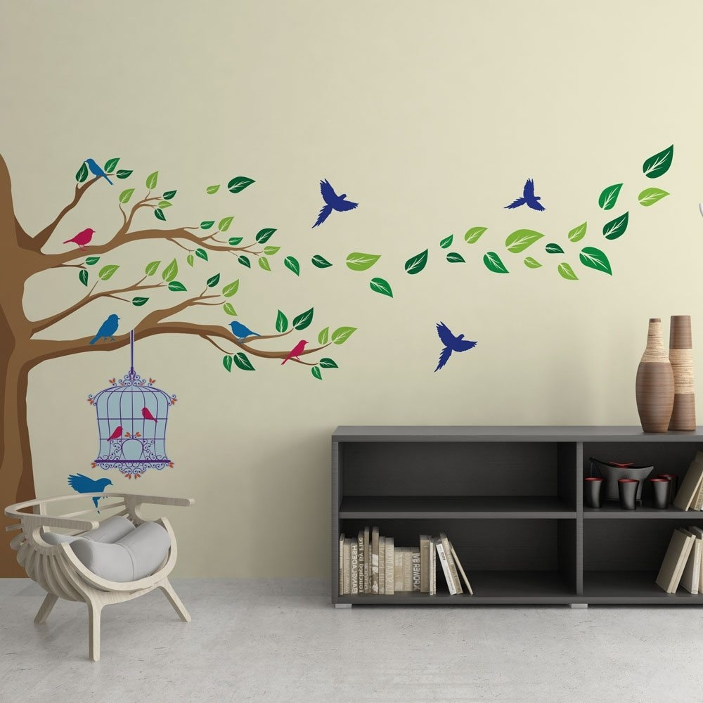 Corner Tree Vinyl Wall Art | Vinyl Revolution throughout Corner Wall Art (Image 7 of 20)