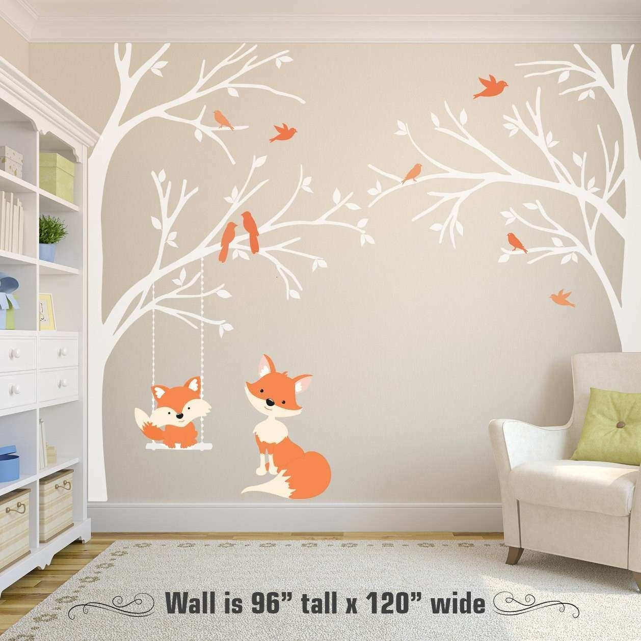 Corner Wall Art Awesome 2 Corner Trees Wall Decal Nursery Decor Fox throughout Corner Wall Art (Image 9 of 20)