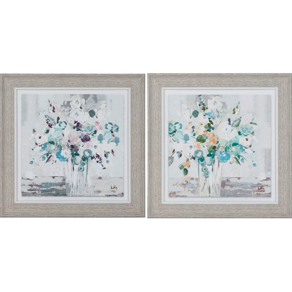 Country French Inspired Wall Art Floral 25X25Cm Framed Print Set Of Throughout Set Of 2 Framed Wall Art (View 3 of 20)