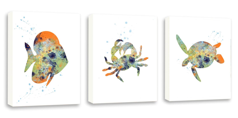 Crab Wall Art Sea Life Decor Bathroom Wall Art Set Of Three, Sea throughout Sea Life Wall Art (Image 4 of 20)