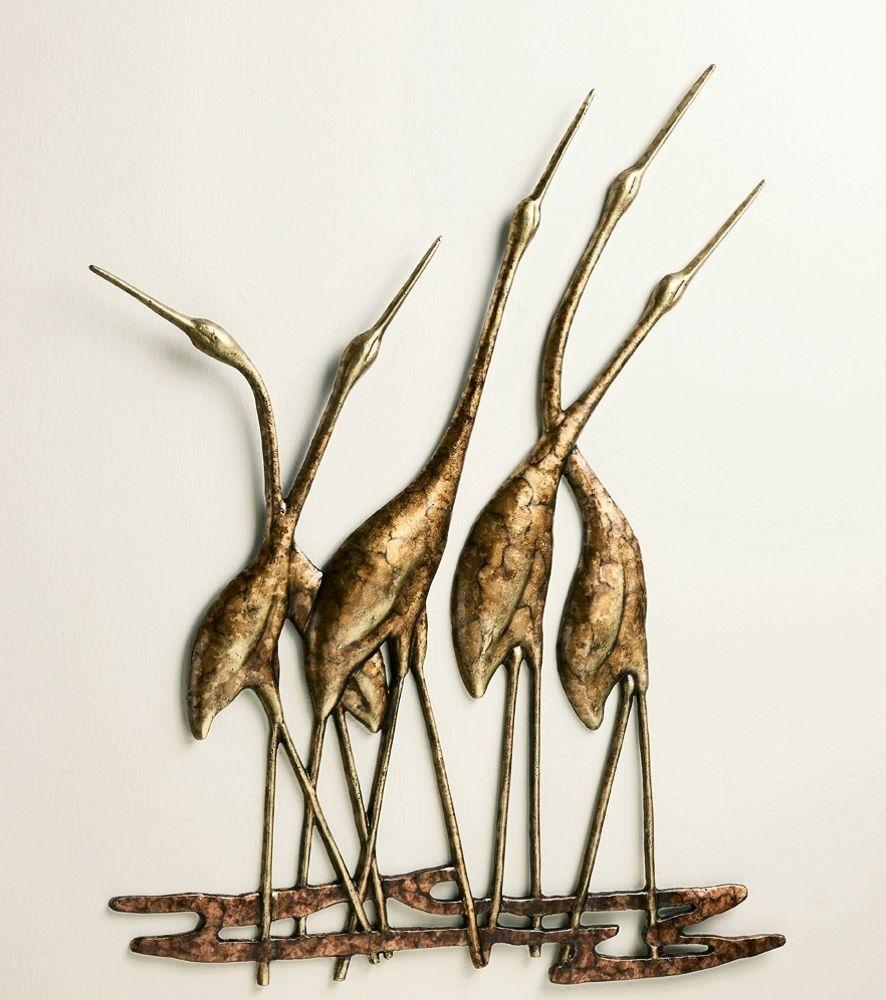 Crane Quintet Wall Art Sculpture Metal Heron Bird Gold & Bronze with regard to Metal Wall Art Sculptures (Image 5 of 20)