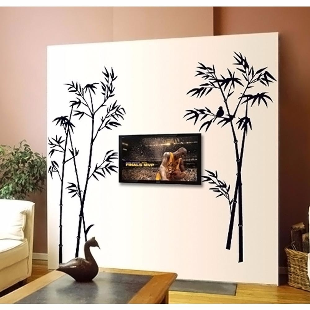 Creative Animal Bird On The Black Bamboo Wall Stickers Home Decor For Bamboo Wall Art (View 8 of 20)