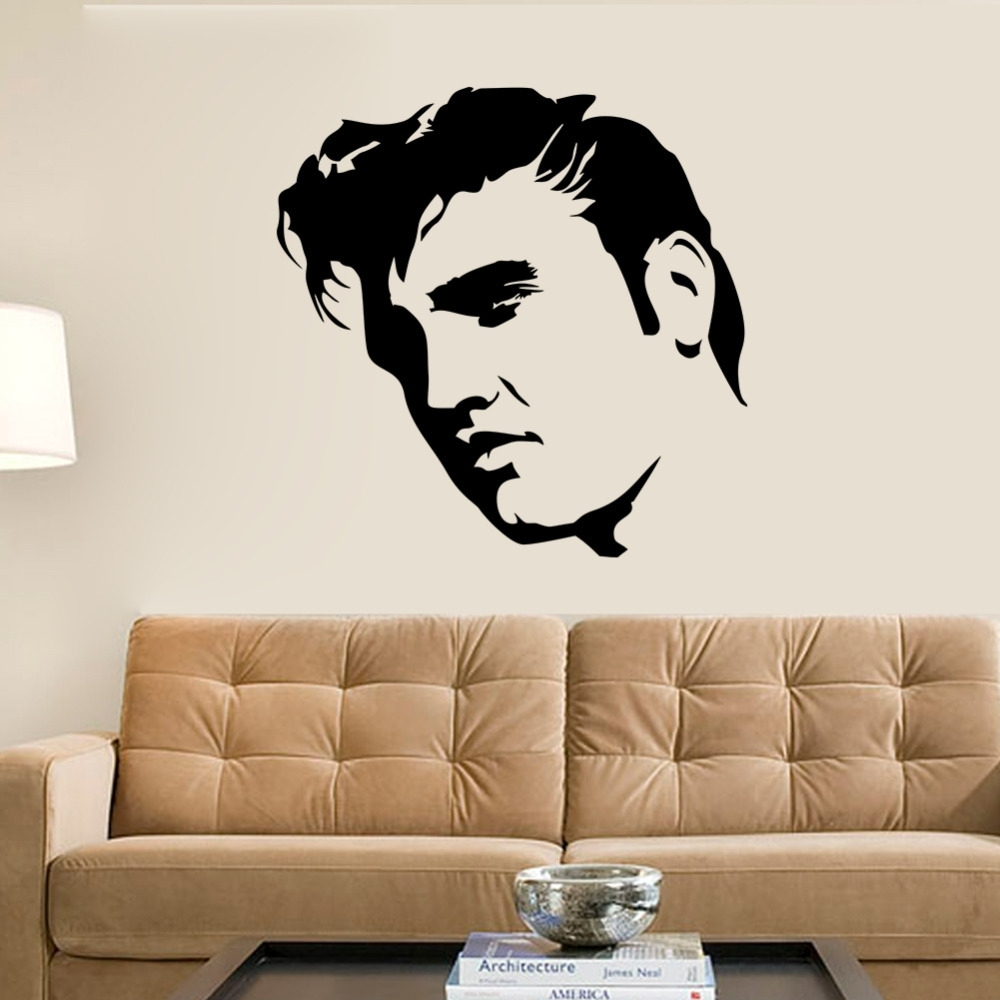 Creative Large Elvis Presley Wall Decals Bedroom Home Decor Black with regard to Stencil Wall Art (Image 5 of 20)