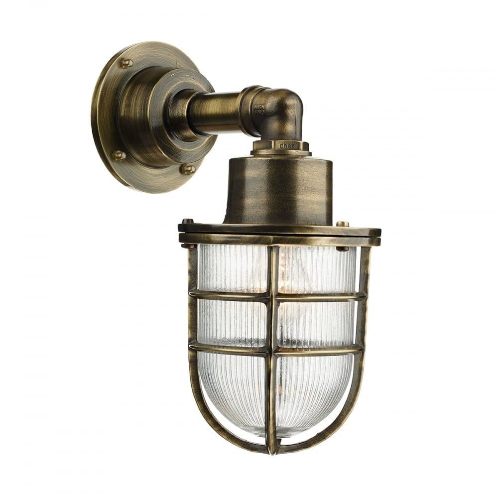 Crewe Nautical Industrial Style Outdoor Wall Light In Brass throughout Industrial Outdoor Lanterns (Image 2 of 20)