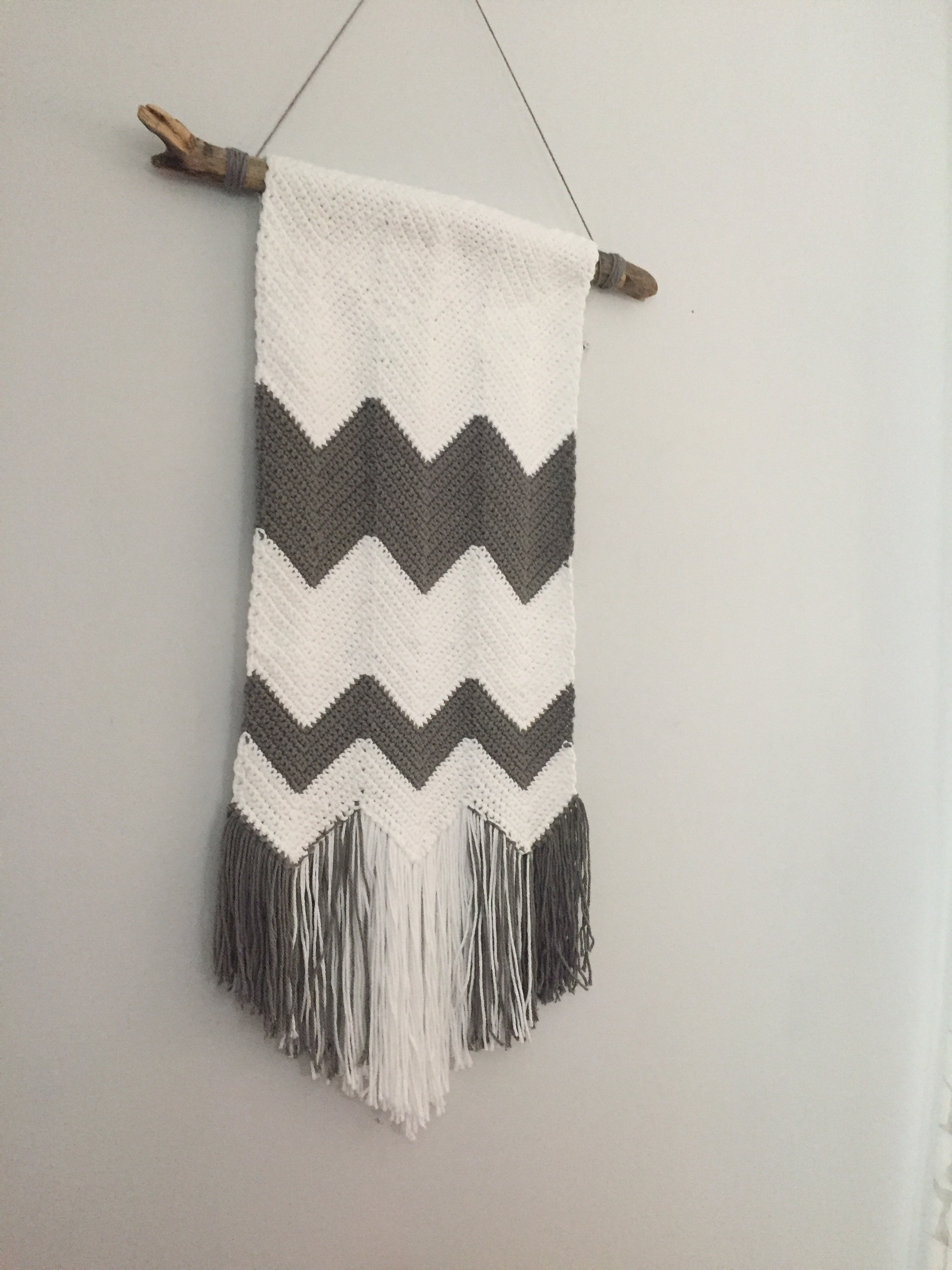 Crochet Chevron Wall Hanging - Free Pattern - Rustic Stitches intended for Crochet Wall Art (Image 4 of 20)