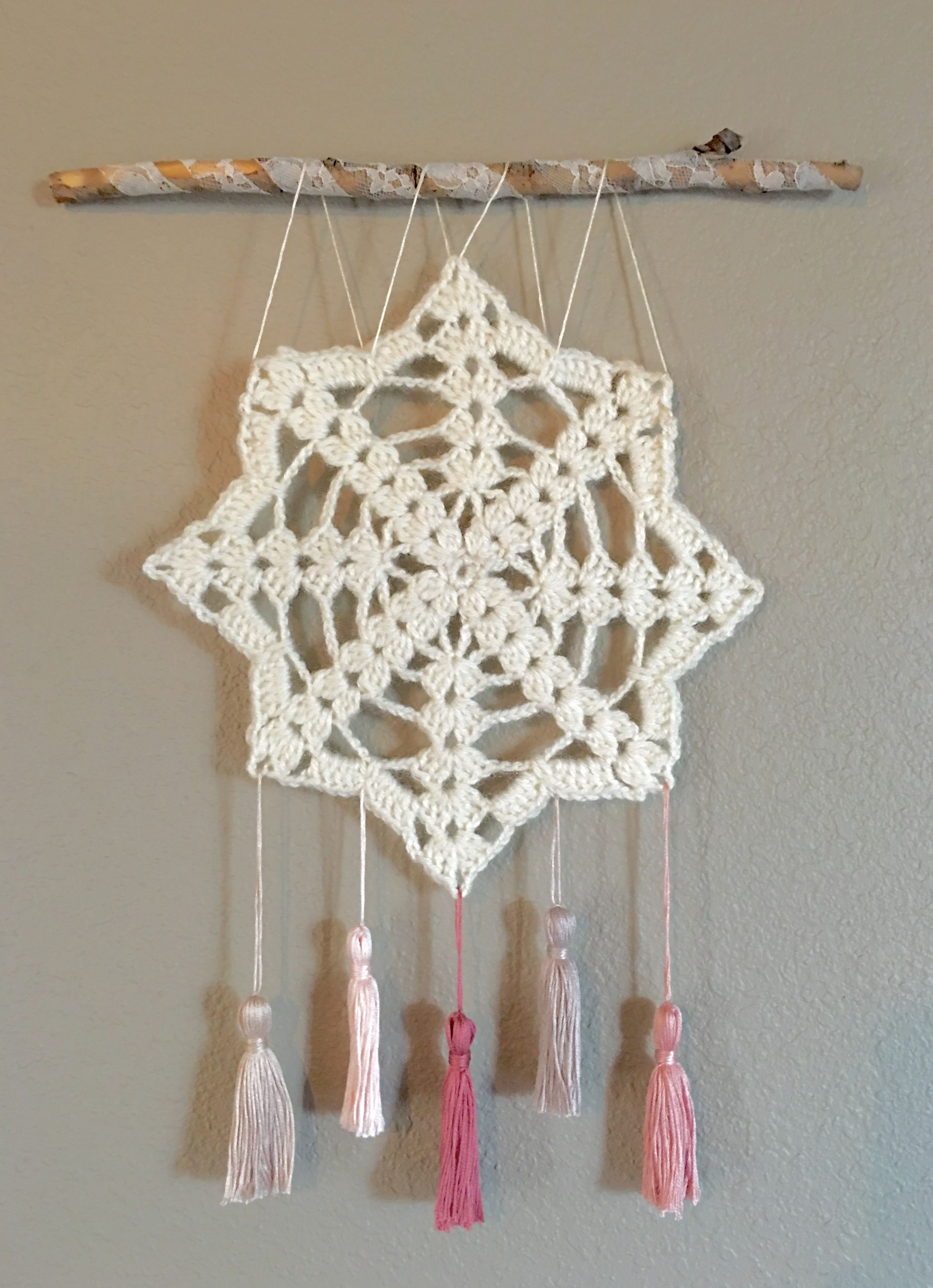Crochet Wall Hanging, Wall Decor, Doily Art, Shabby Chic Wall Art in Crochet Wall Art (Image 8 of 20)