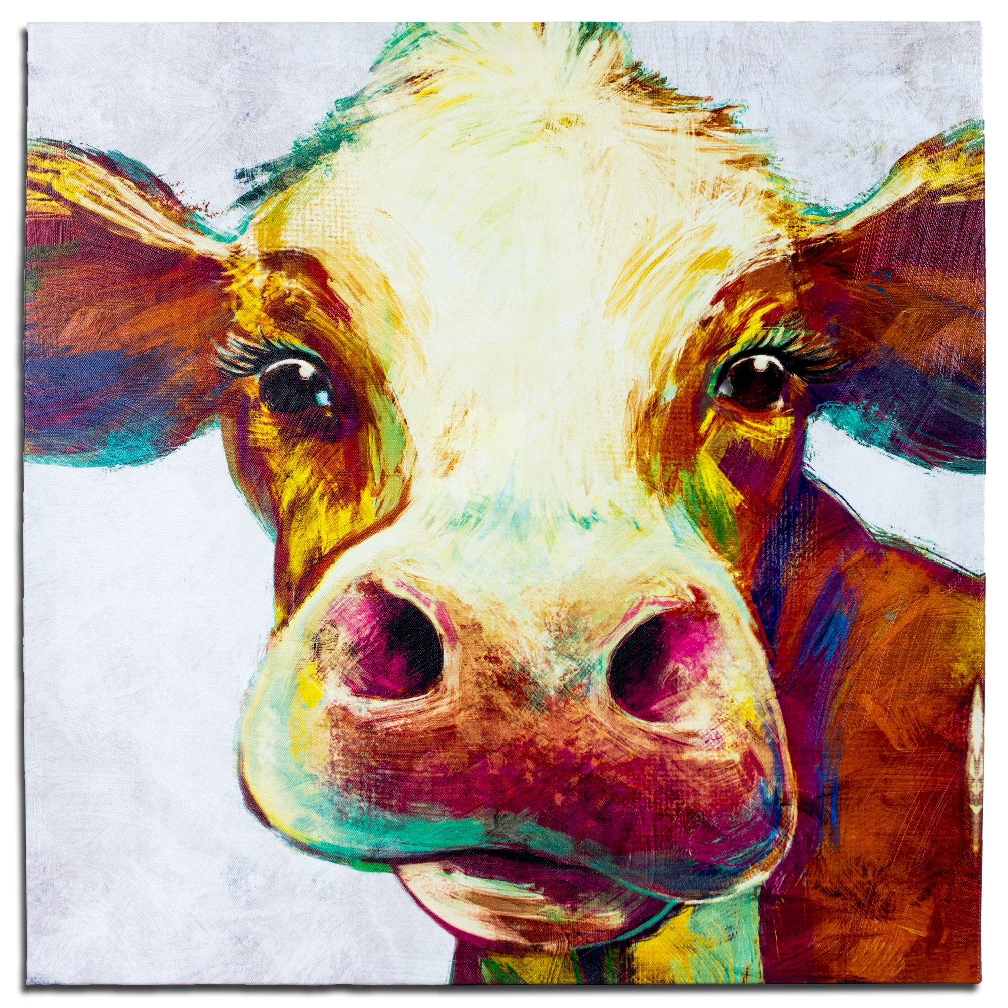 Crystal Art Cow Wrapped Canvas Painting Print Wall Art Decor 20 X 20 Inside Cow Canvas Wall Art (View 11 of 20)