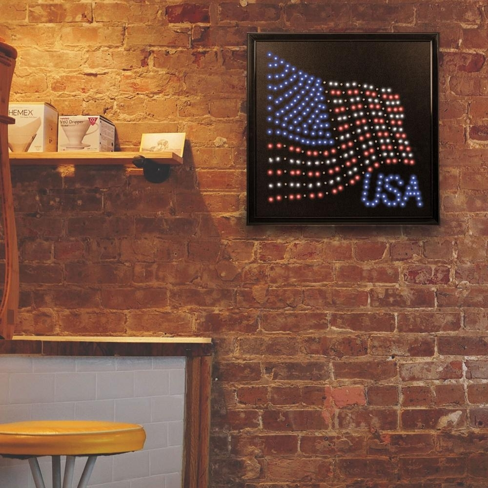 Crystal Art Gallery Usa American Flag Framed Led Sign-111147 - The for American Flag Wall Art (Image 6 of 20)