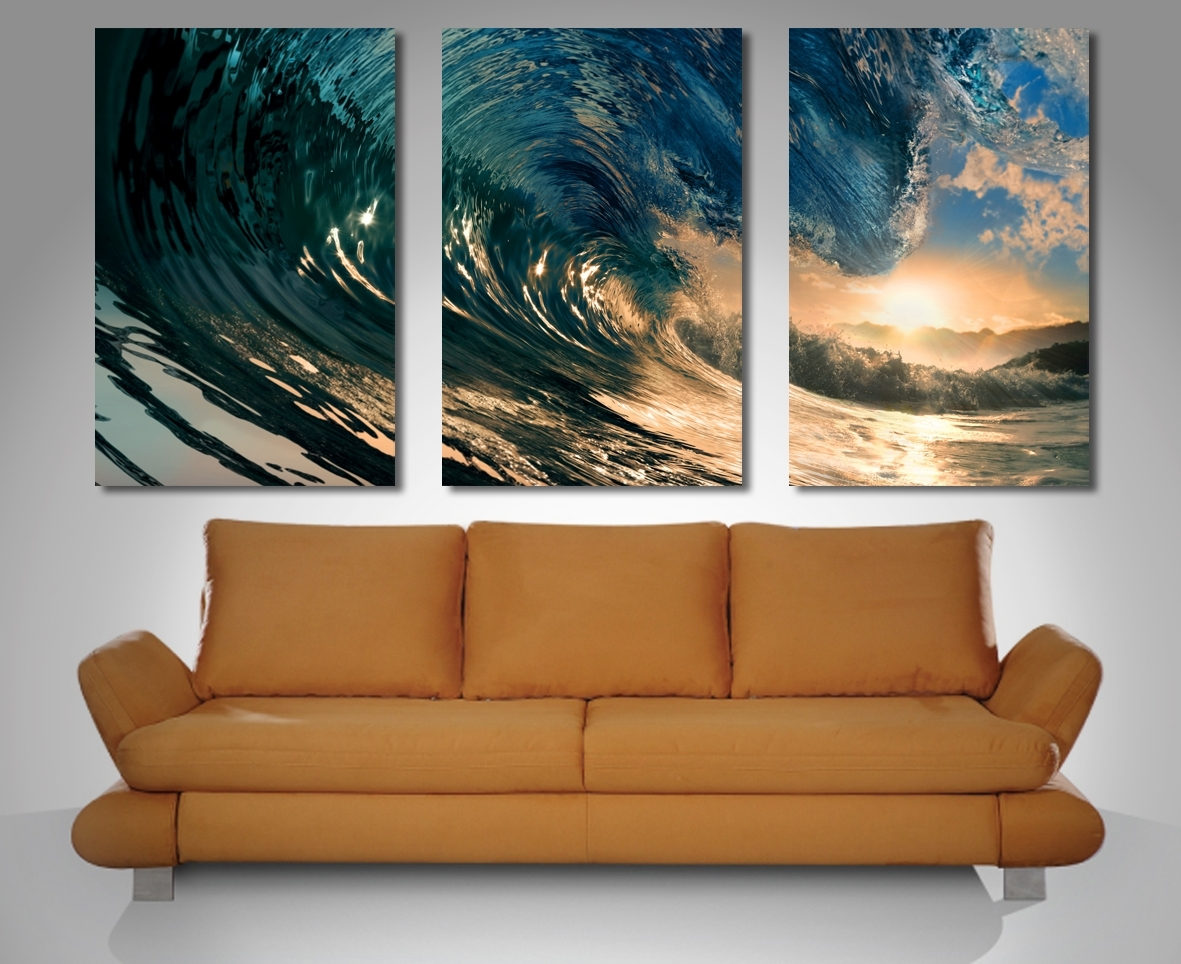 Crystal Waves Panel Canvas Print New 3 Panel Wall Art - Home Design in 3 Piece Canvas Wall Art (Image 11 of 20)