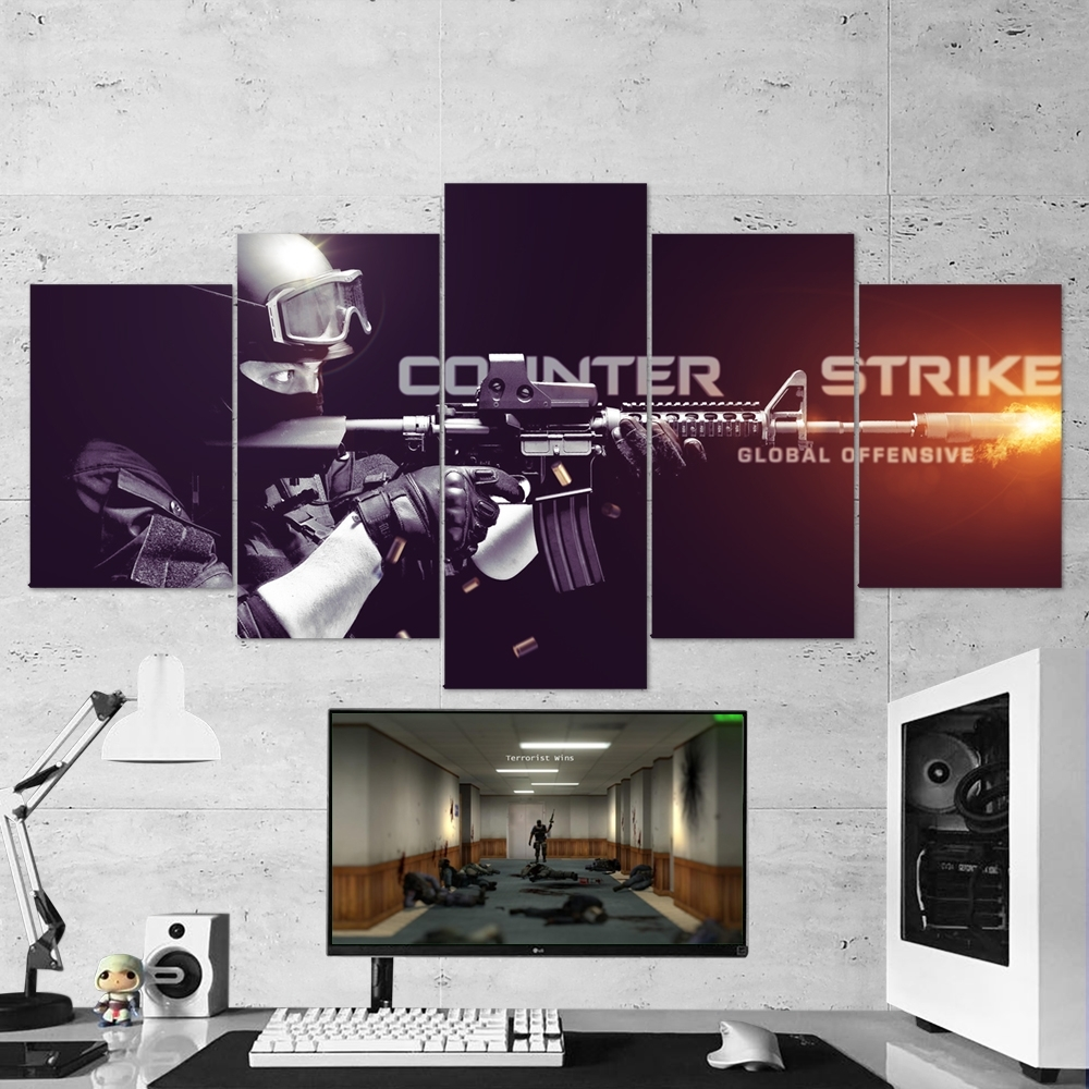Cs:go Counter-Strike: Global Offensive 01 – 5 Piece Canvas Wall Art with 5 Piece Wall Art (Image 13 of 20)