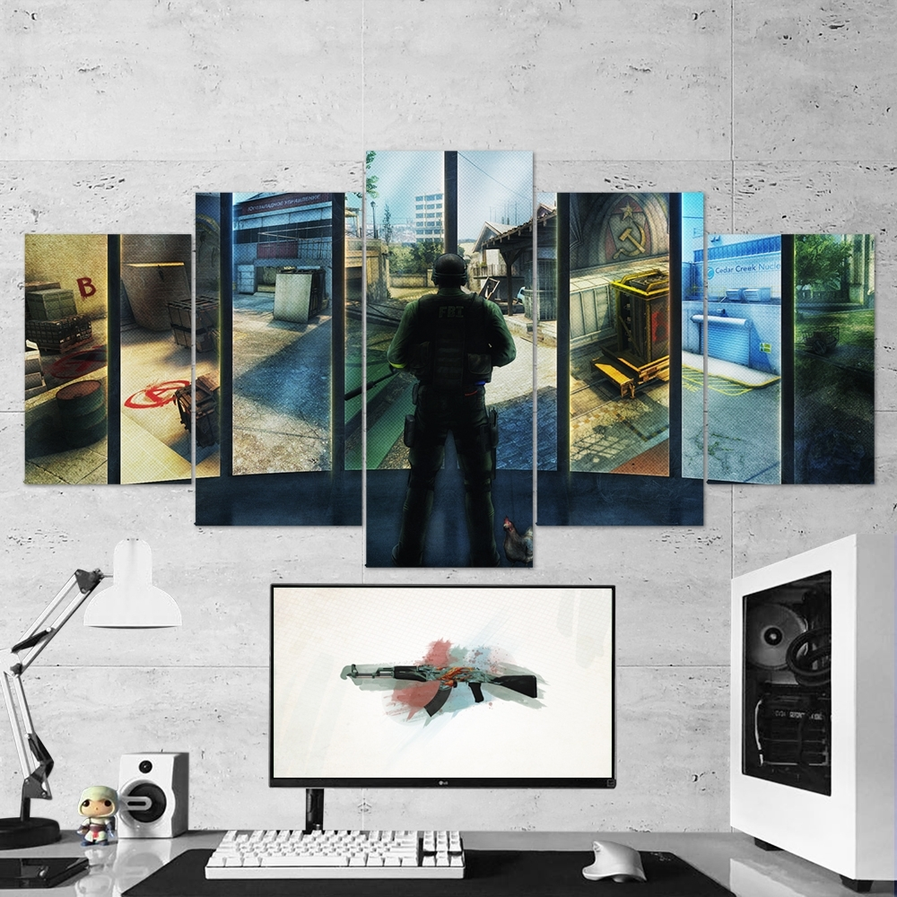 Cs:go Counter-Strike: Global Offensive 05 – 5 Piece Canvas Wall Art in 5 Piece Wall Art (Image 14 of 20)