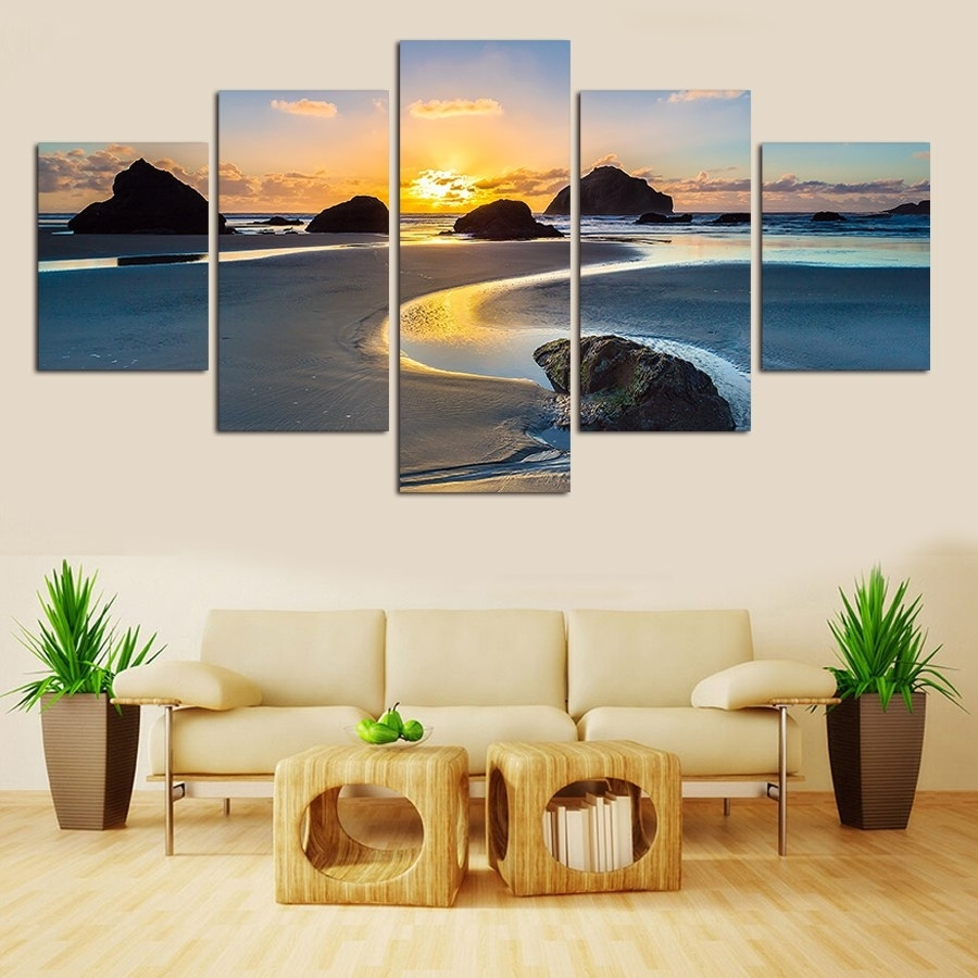 Cuadros Decoracion Natural Landscape No Framed 5 Piece Modern Home with Modern Framed Wall Art Canvas (Image 11 of 20)