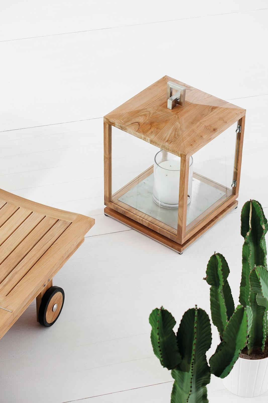 Cubico Outdoor Teak Lantern – Idd In Outdoor Teak Lanterns (View 6 of 20)
