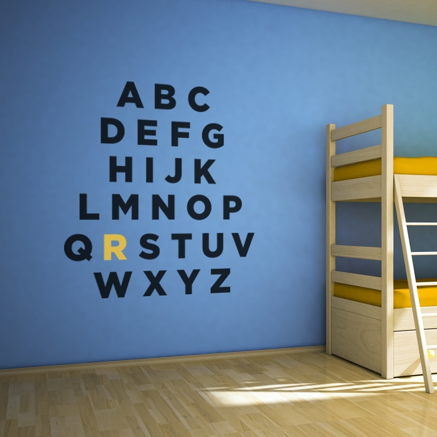 Custom Alphabet Wall Art Decal regarding Alphabet Wall Art (Image 8 of 20)