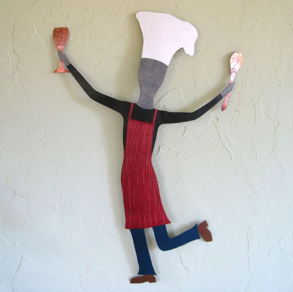 Custom Dancing Male Chef Metal Wall Art Sculpture Kitchen Wall Decor With Regard To Kitchen Metal Wall Art (View 6 of 20)