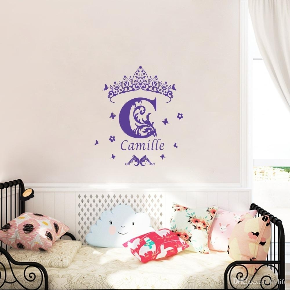 Custom Girls Name Vinyl Wall Sticker Crown Wall Art Decal In Personalized Wall Art (View 11 of 20)