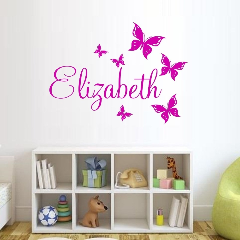 Custom Made Butterfly Personalized Wall Sticker Name Vinyl Wall Throughout Personalized Wall Art (View 4 of 20)
