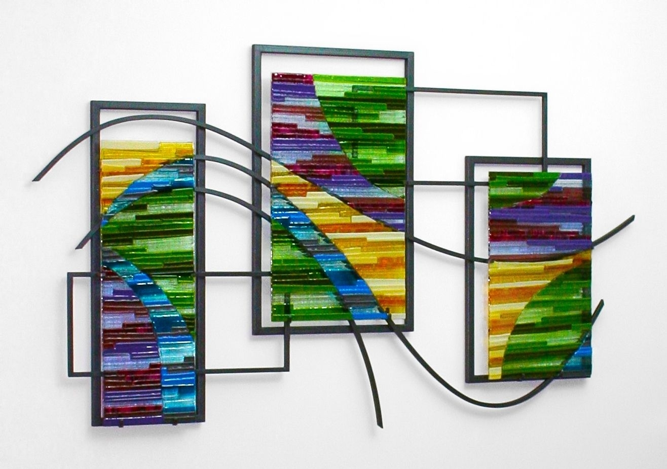 Custom Made Fused Glass And Metal Wall Artbonnie M. Hinz in Glass Wall Art (Image 5 of 20)