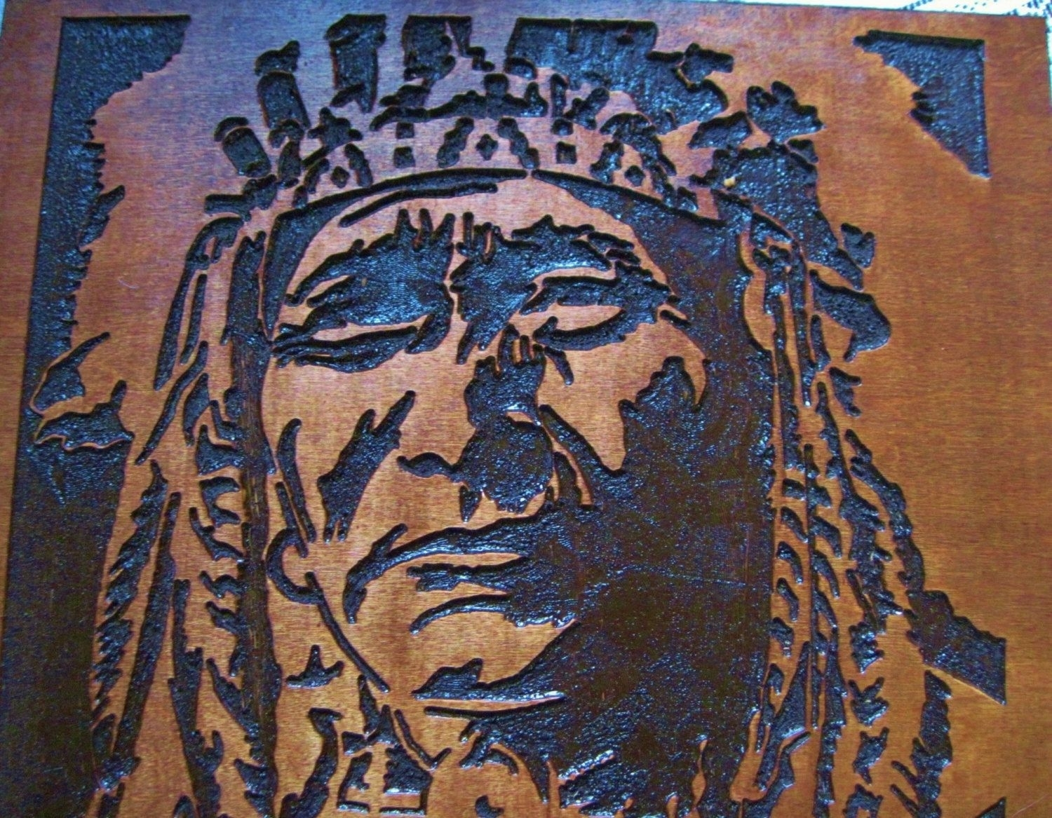 Custom Made Native American Indian Chief Handmade Wood Carving Wall In Native American Wall Art (View 7 of 20)