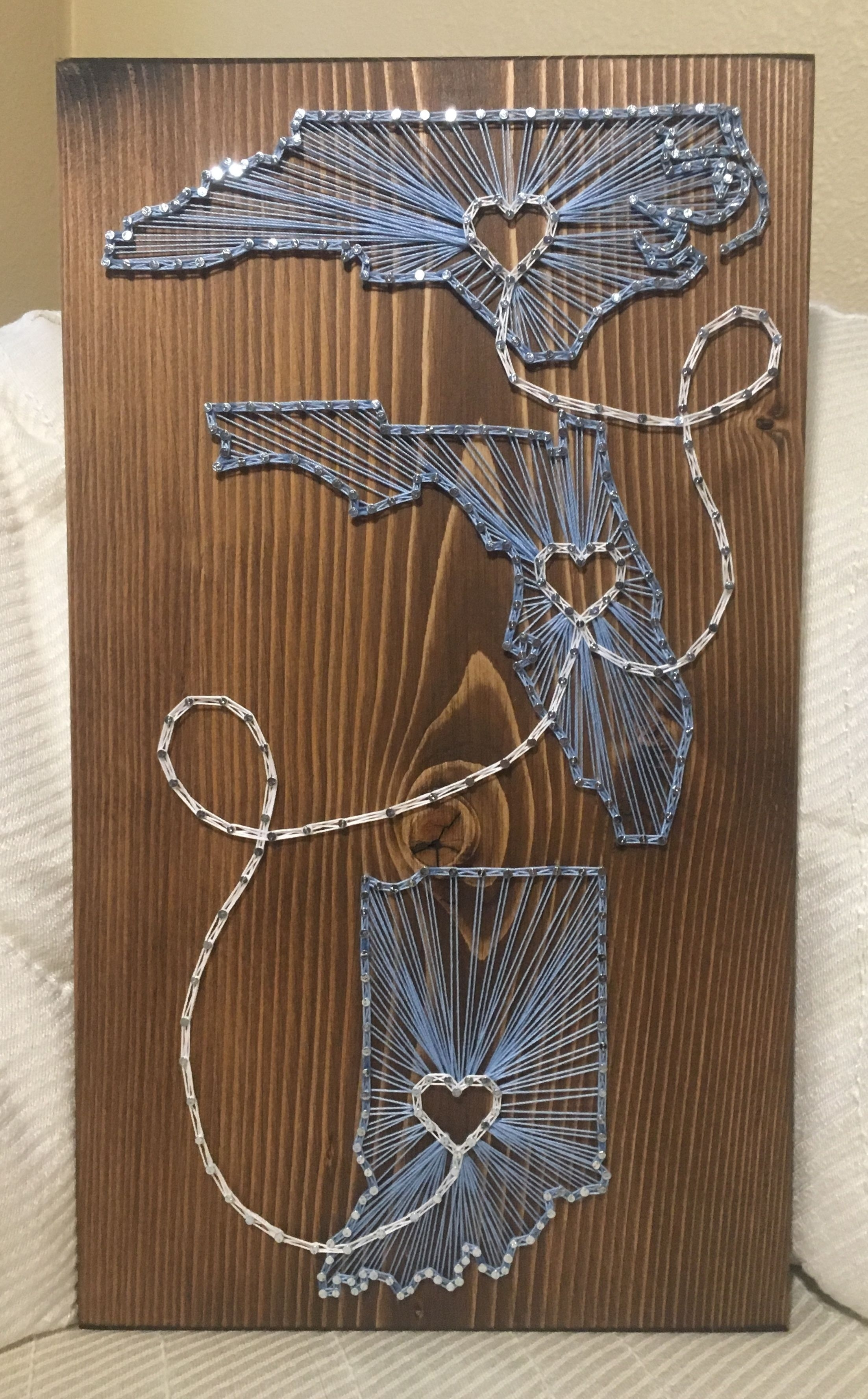 Custom Three States/countries String Art – State Love – Connecting For String Map Wall Art (View 4 of 20)