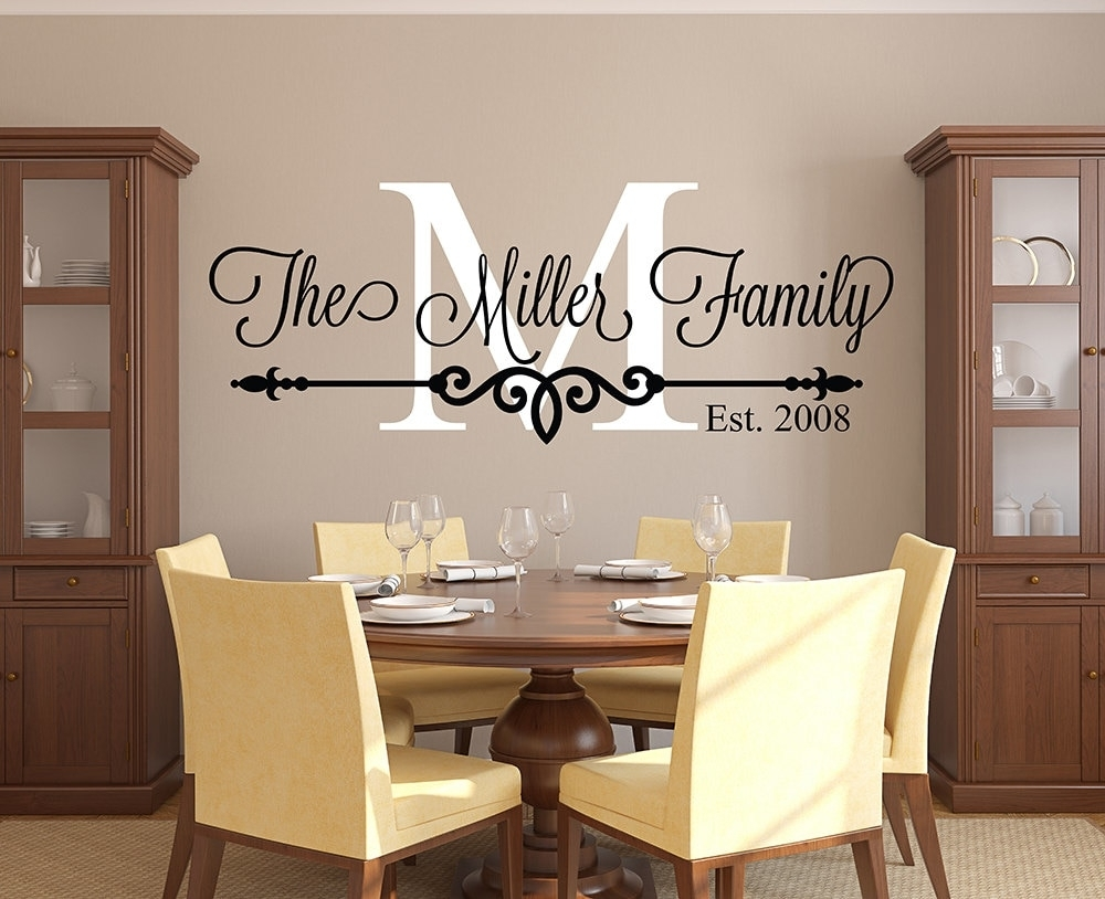 Customize Family Name Wall Decal Personalized Family Monogram Living Within Family Name Wall Art (View 13 of 20)