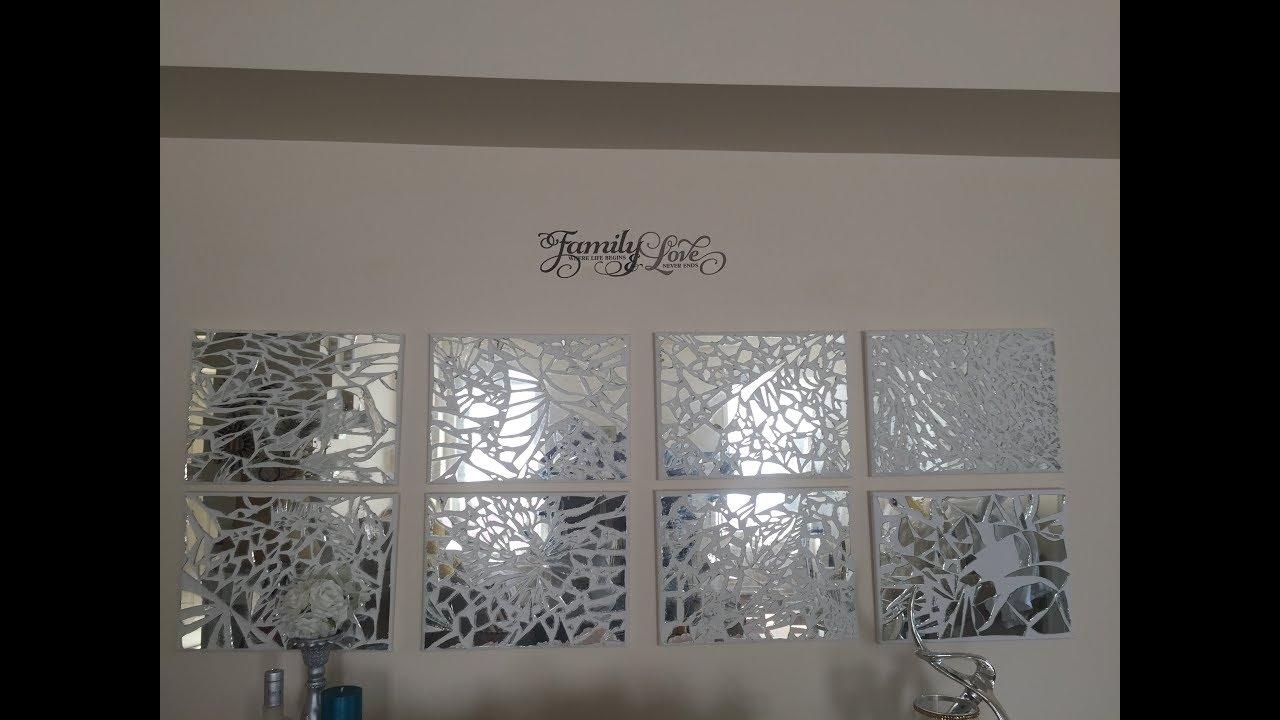 D I Y Mosaic Mirrored Wall Art//home Decor//mosaic Mirrored Pieces Within Mirrored Wall Art (View 8 of 20)