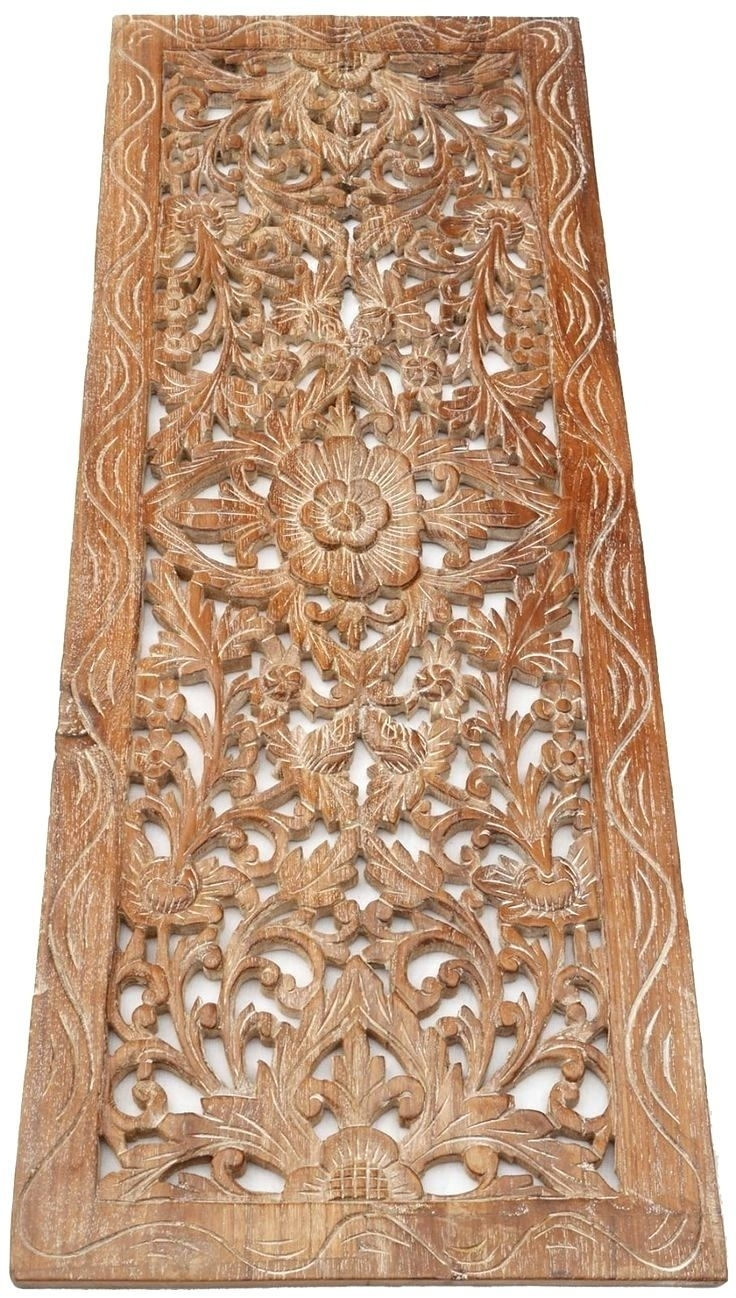 Dainty Large Carved Wooden Wall Art Ceiling Panel Siam Sawadee Wood Inside Wood Carved Wall Art (View 13 of 20)