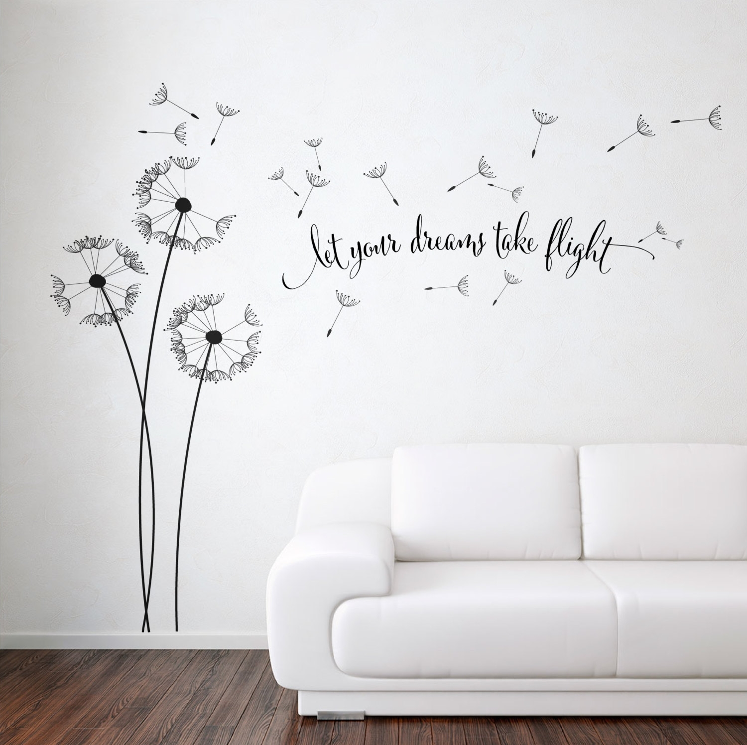 Dandelion Blowing With Quote Wall Sticker, Floral Sticker, Flower regarding Dandelion Wall Art (Image 2 of 20)