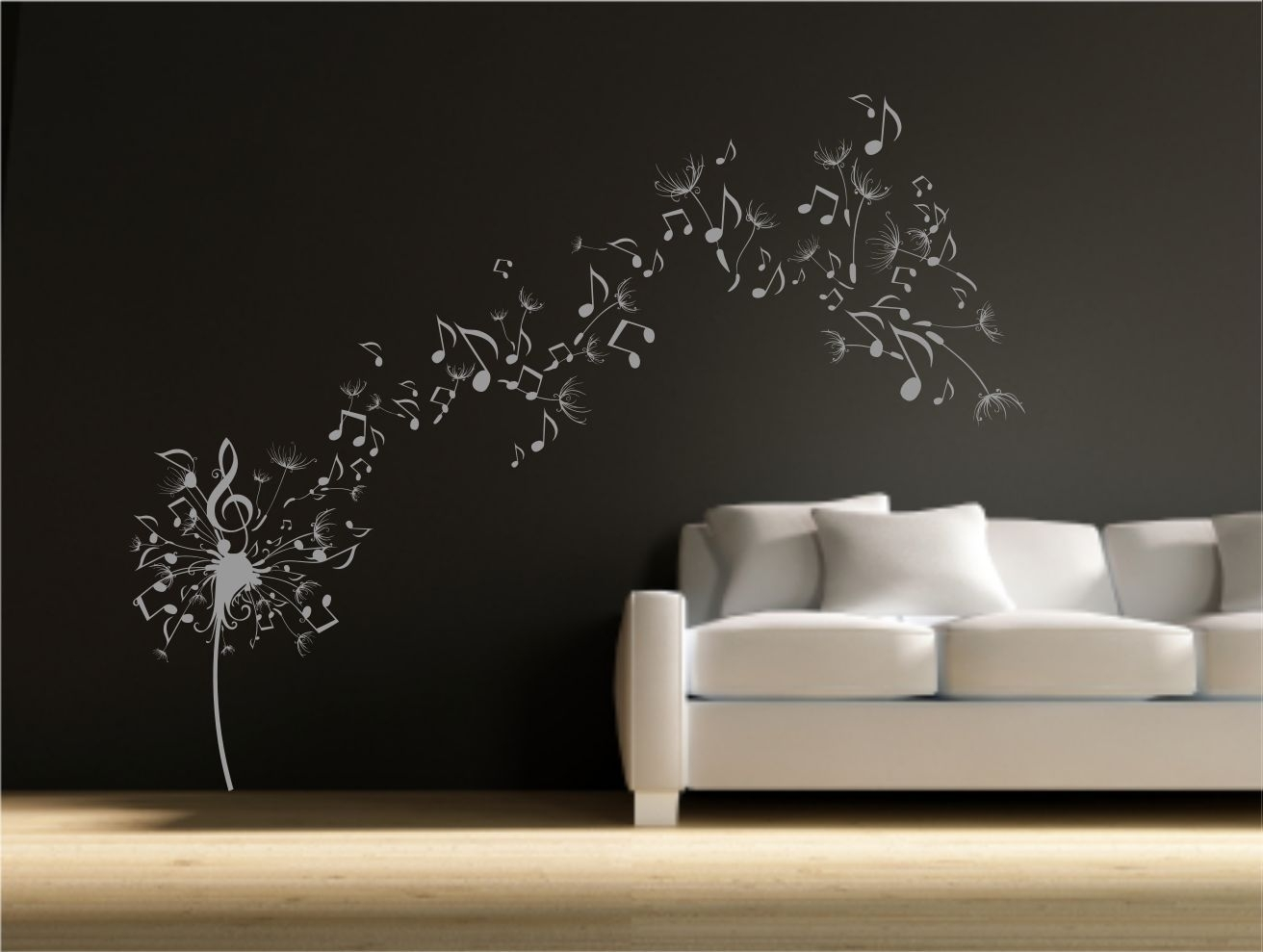Dandelion Clock Seeds Music Note Wall Decal Sticker Transfer Stencil within Dandelion Wall Art (Image 3 of 20)