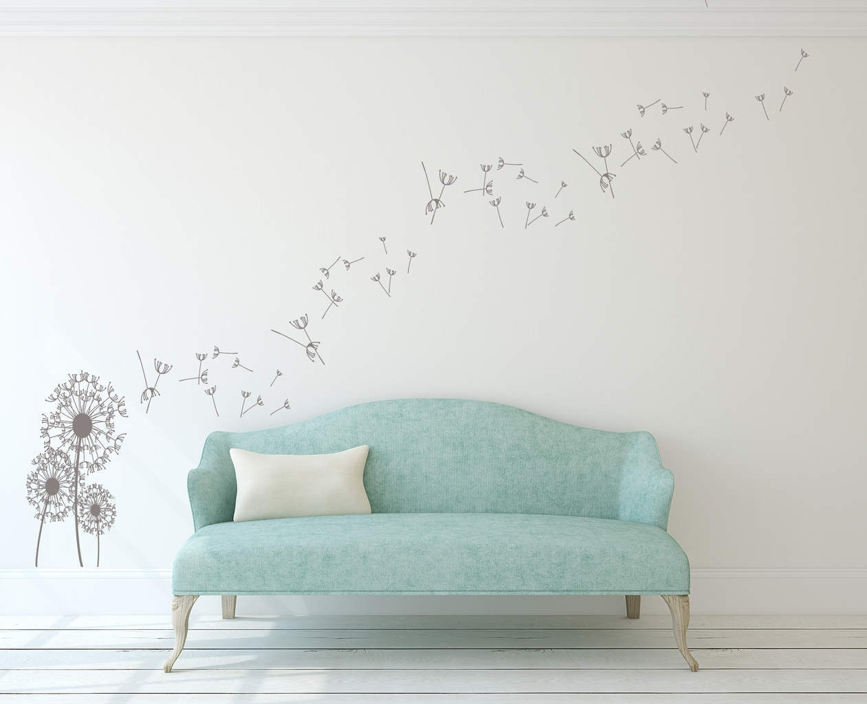 Dandelion Wall Art Decal | Dandelion Wall Decal Sticker in Dandelion Wall Art (Image 6 of 20)