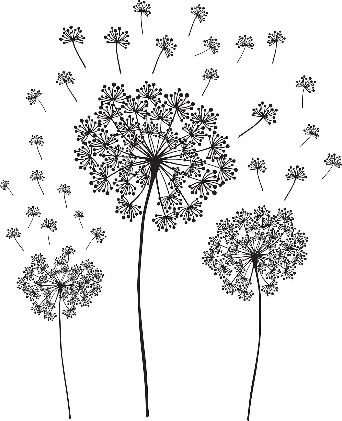 Dandelion Wall Art Sticker Kit with Dandelion Wall Art (Image 8 of 20)