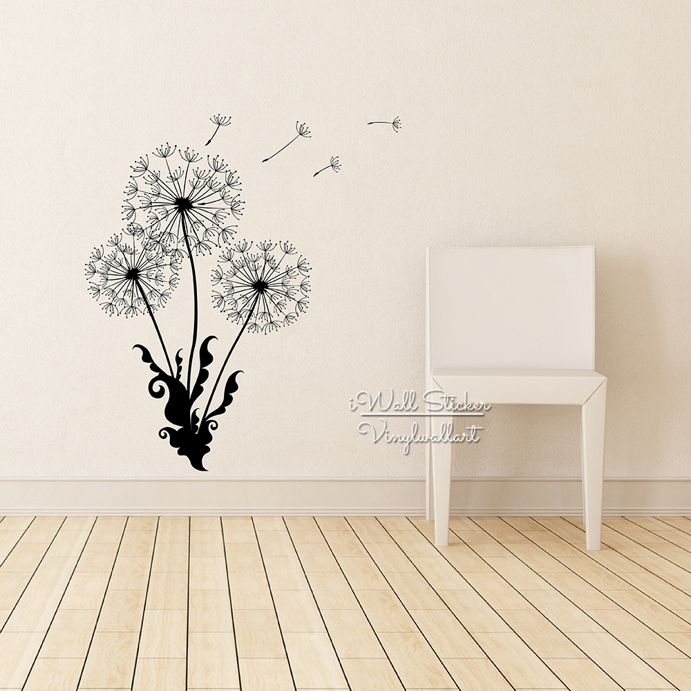 Dandelion Wall Sticker Dandelion Flower Wall Decal Diy Dandelion with Dandelion Wall Art (Image 14 of 20)