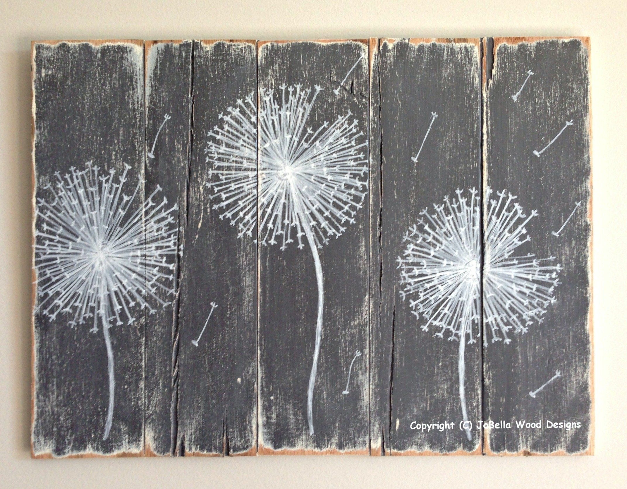Dandelion Wood Painting - Handmade, Distressed (Gray And White with regard to Grey And White Wall Art (Image 9 of 20)