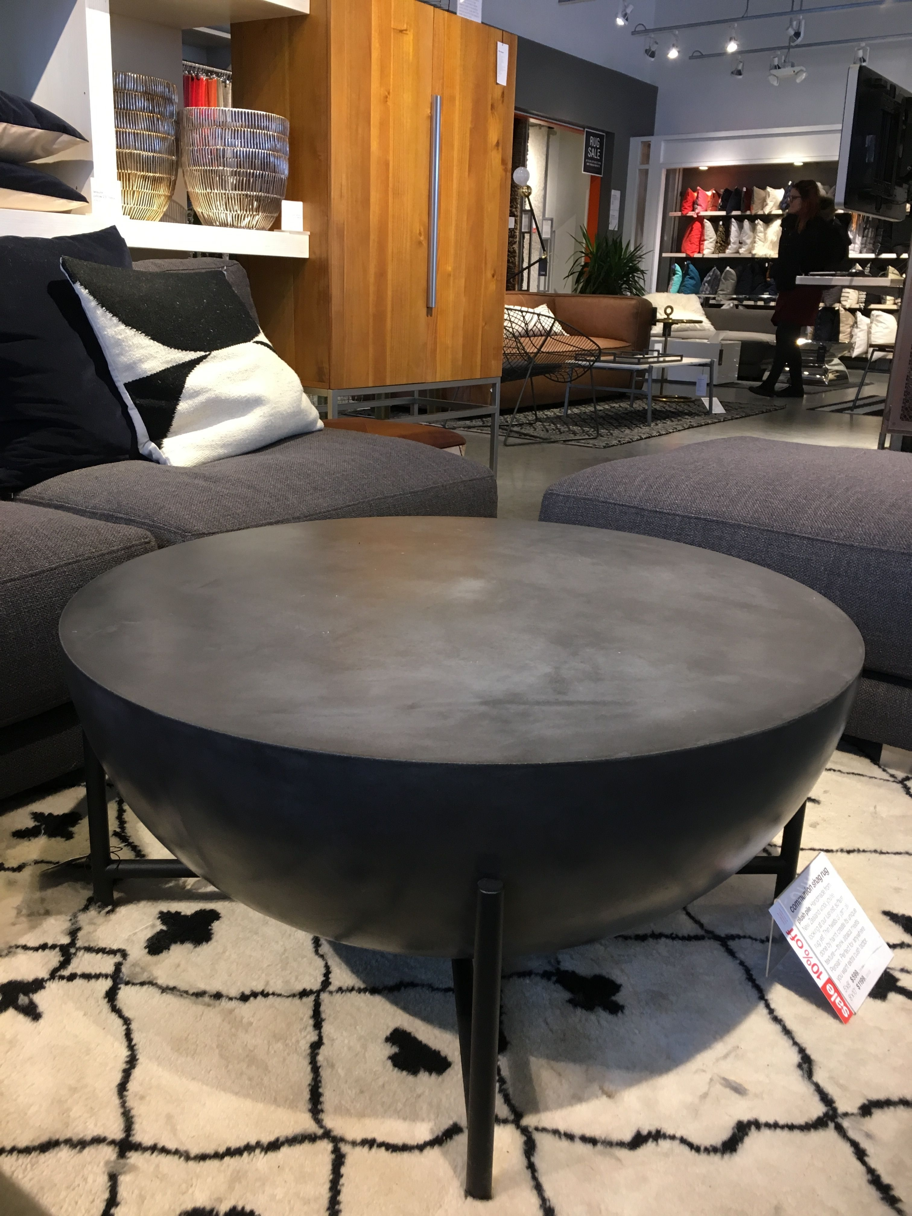 "Darbuka Coffee Table $700 Cb2. 34"" Diameter | Living Room inside Darbuka Black Coffee Tables (Image 14 of 30)"