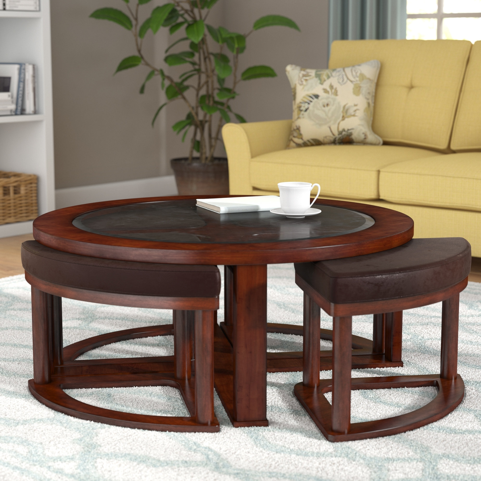 Darby Home Co Eastin Coffee Table With Nested Stools & Reviews | Wayfair with Mill Large Leather Coffee Tables (Image 14 of 30)