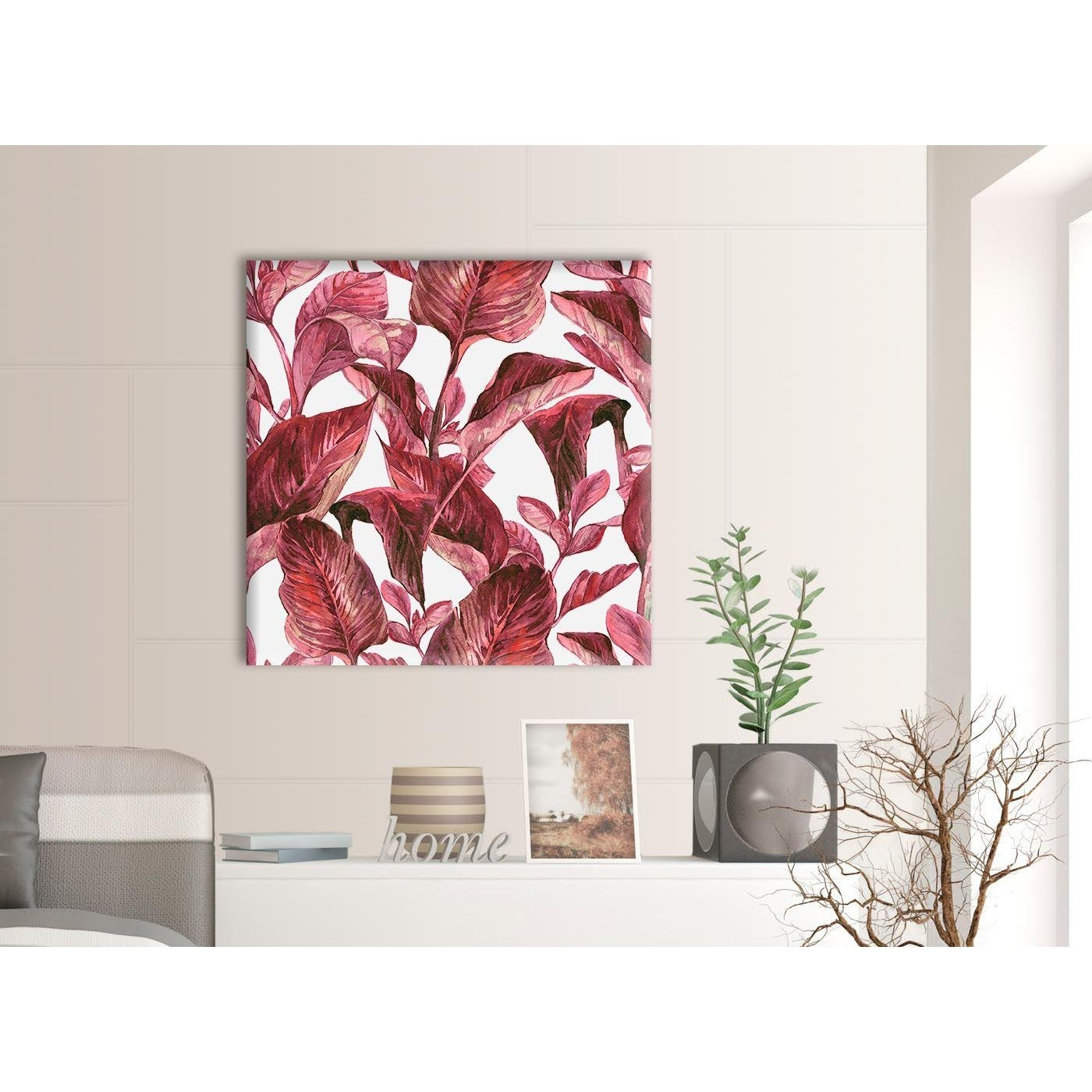 Dark Burgundy Red White Tropical Leaves Canvas Wall Art – Modern For Burgundy Wall Art (View 9 of 20)
