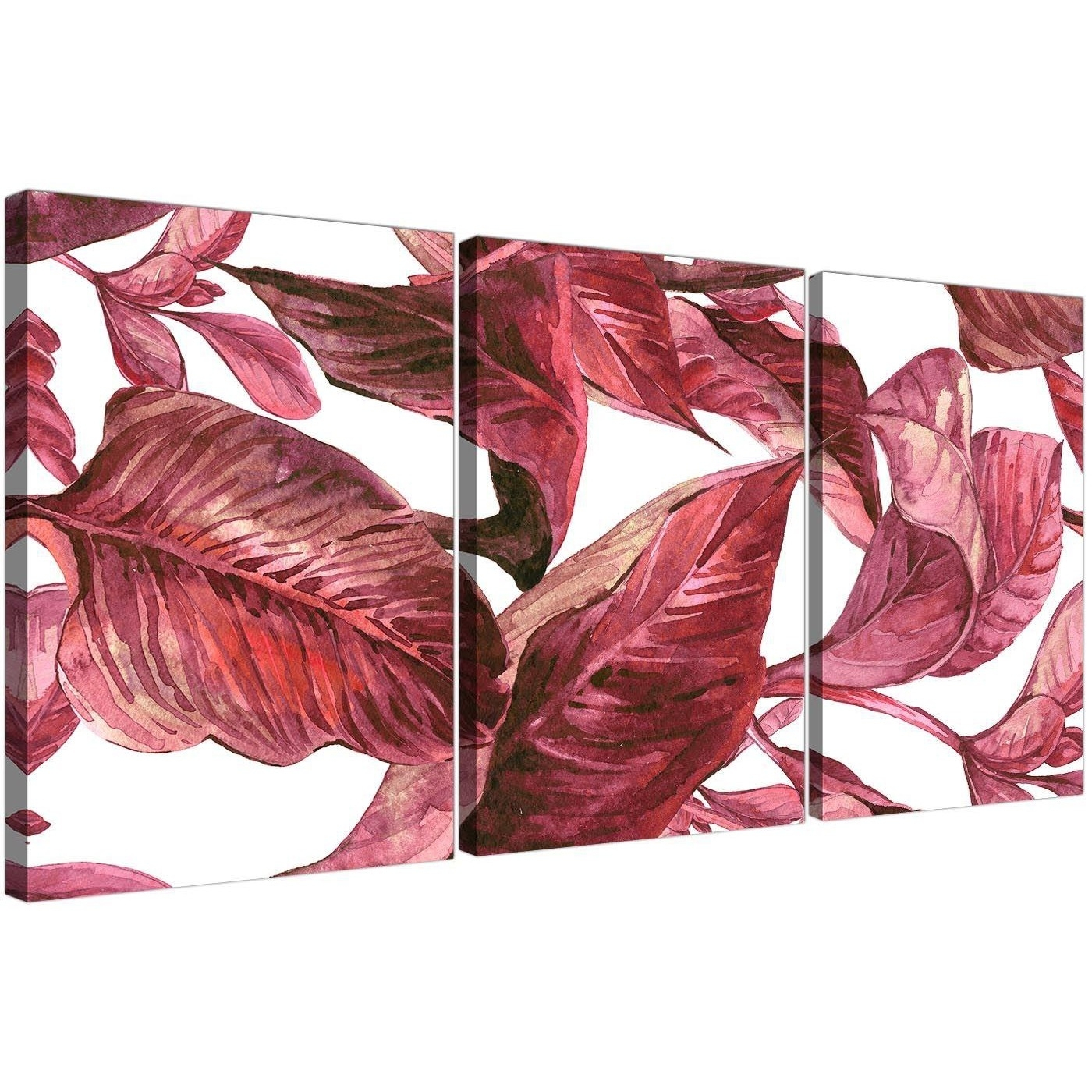 Dark Burgundy Red White Tropical Leaves Canvas Wall Art – Split 3 With Burgundy Wall Art (View 6 of 20)