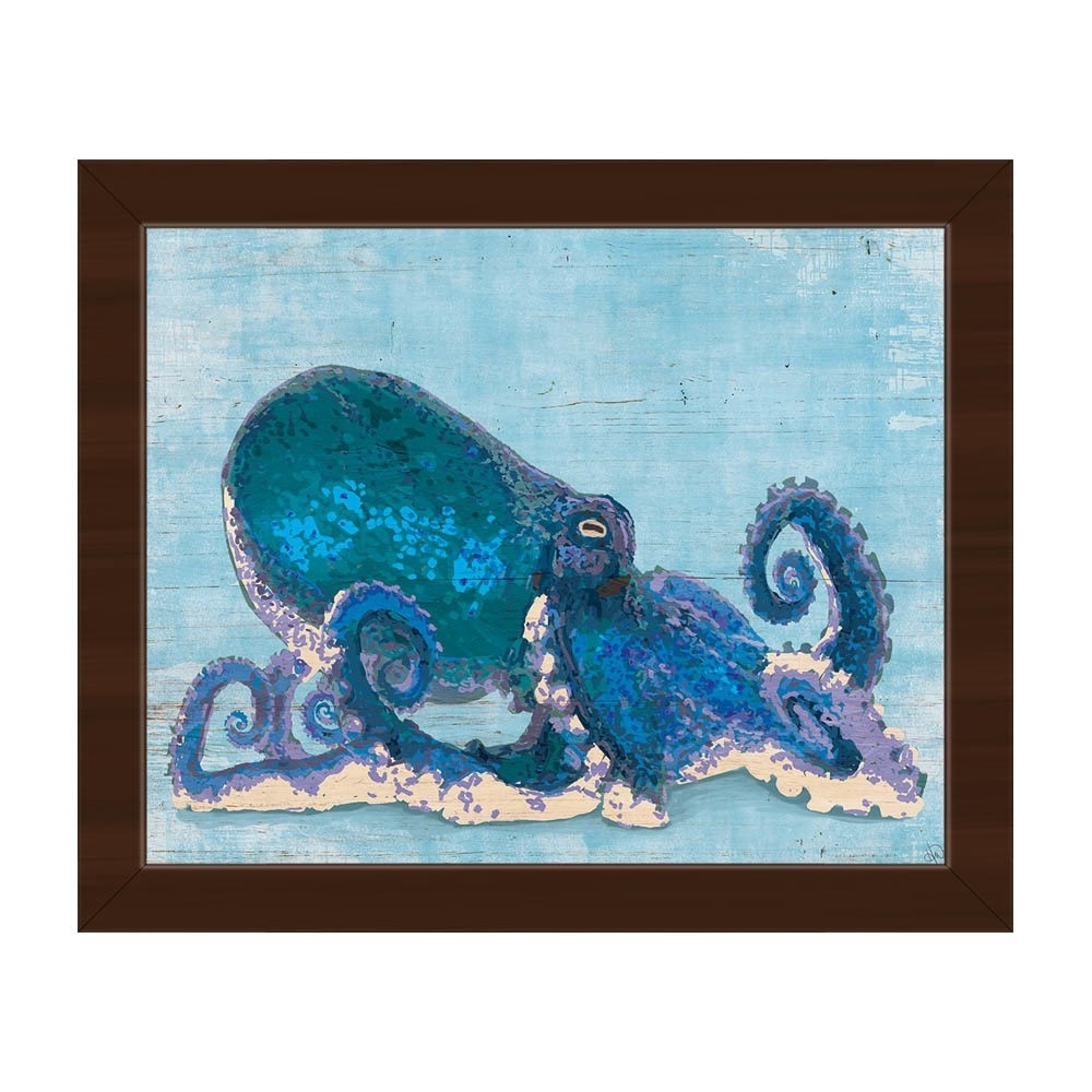Dat Cool Blue Octopus Framed Canvas Wall Art Print - Free Shipping pertaining to Octopus Wall Art (Image 4 of 20)