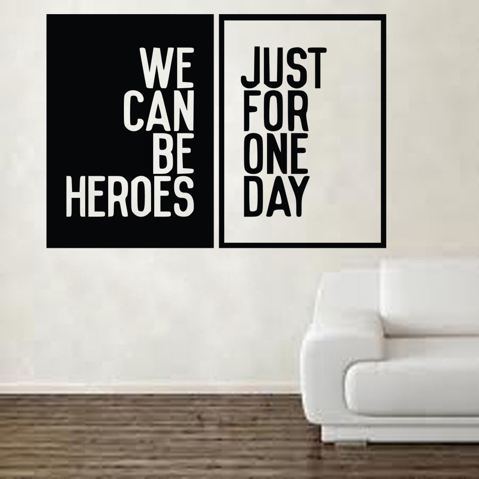 David Bowie Heroes Song Music Lyrics Wall Sticker Art Free Shipping Throughout Song Lyric Wall Art (View 5 of 20)