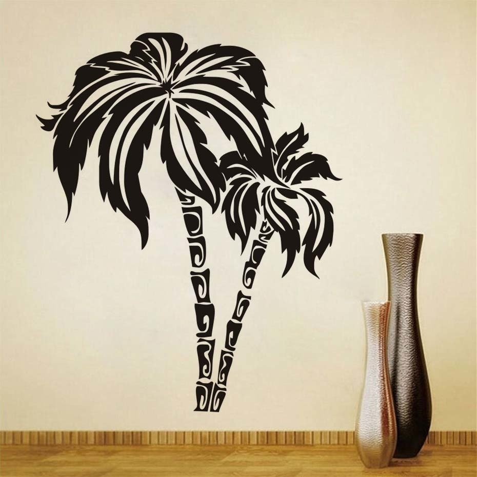 Dctop Green Palm Tree Wall Stickers For Living Room Waterproof Wall with Palm Tree Wall Art (Image 5 of 20)