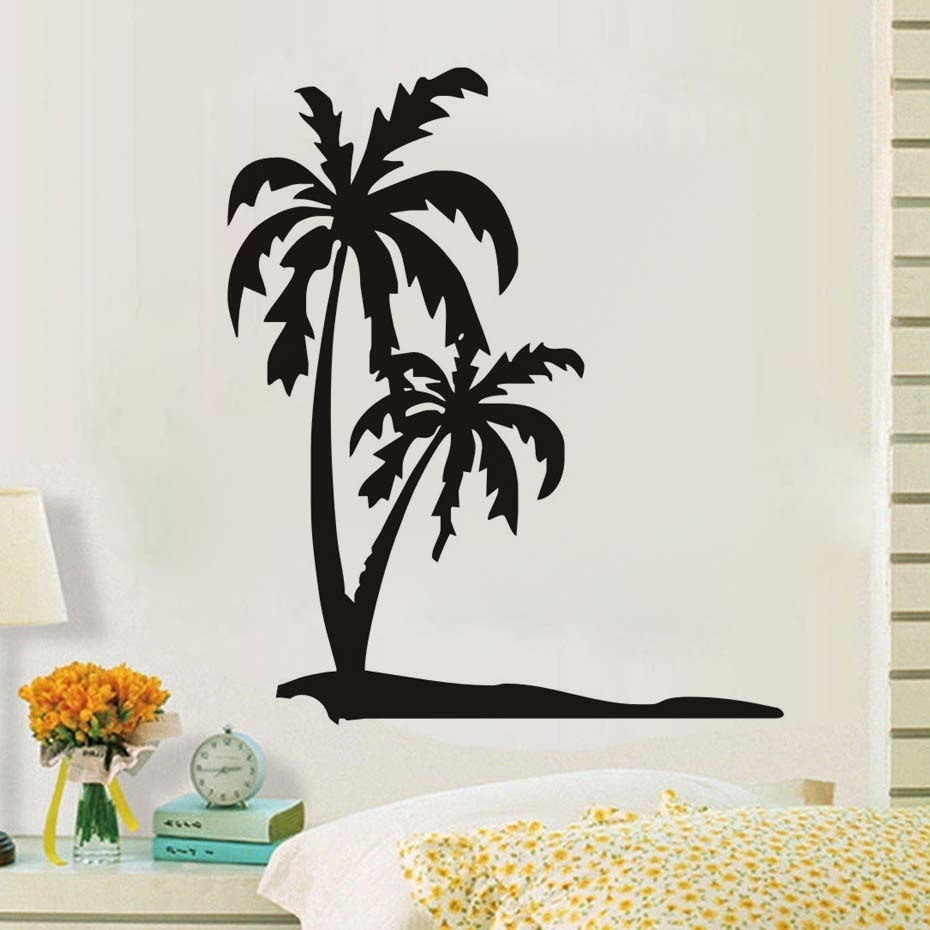 Dctop Palm Tree Wall Stickers For Kids Rooms Wall Decor Black with regard to Palm Tree Wall Art (Image 6 of 20)