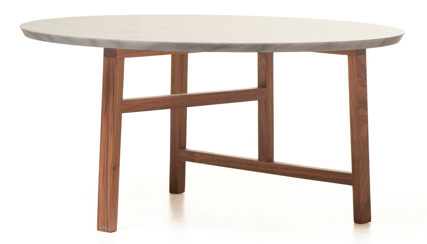 De La Espada Trio Round Walnut And Marble Top Coffee Table | Heal's inside Suspend Ii Marble and Wood Coffee Tables (Image 4 of 30)