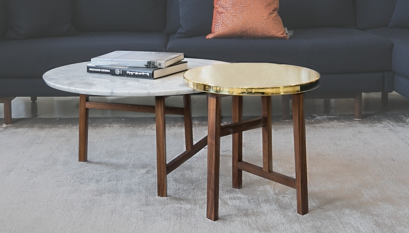 De La Espada Trio Round Walnut And Marble Top Coffee Table | Heal's with Suspend Ii Marble and Wood Coffee Tables (Image 5 of 30)