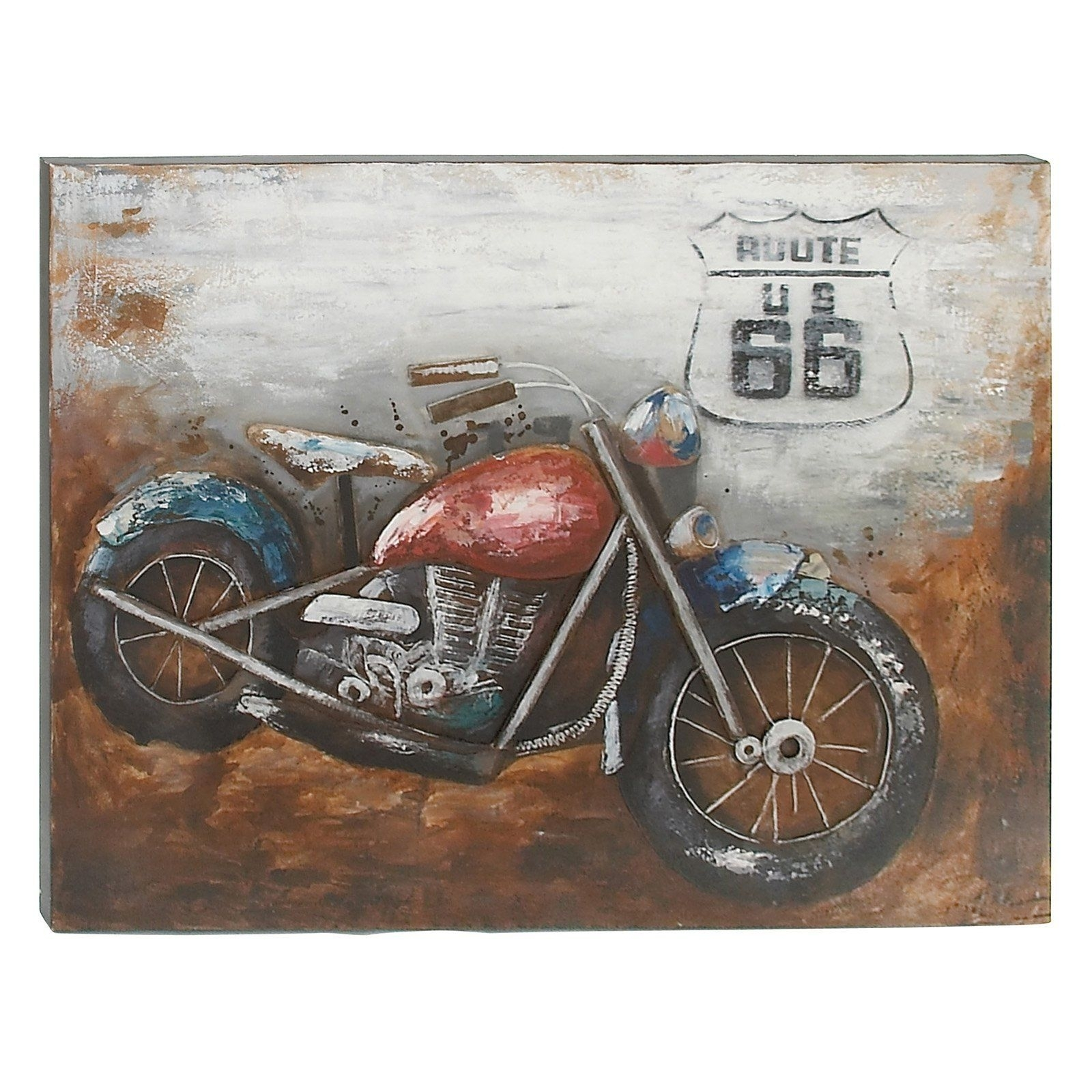 Decmode Route 66 Vintage Motorcycle Wall Art - 43943 | Products inside Motorcycle Wall Art (Image 4 of 20)