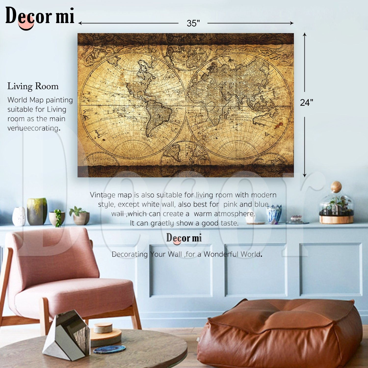 Decor Mi Vintage World Map Canvas Wall Art Retro Map Of The World pertaining to Vintage Map Wall Art (Image 4 of 20)