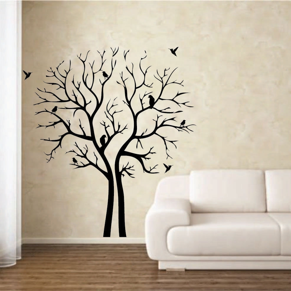 Decoration Ideas: Fancy Living Room Decoration With White Leather pertaining to Stencil Wall Art (Image 6 of 20)