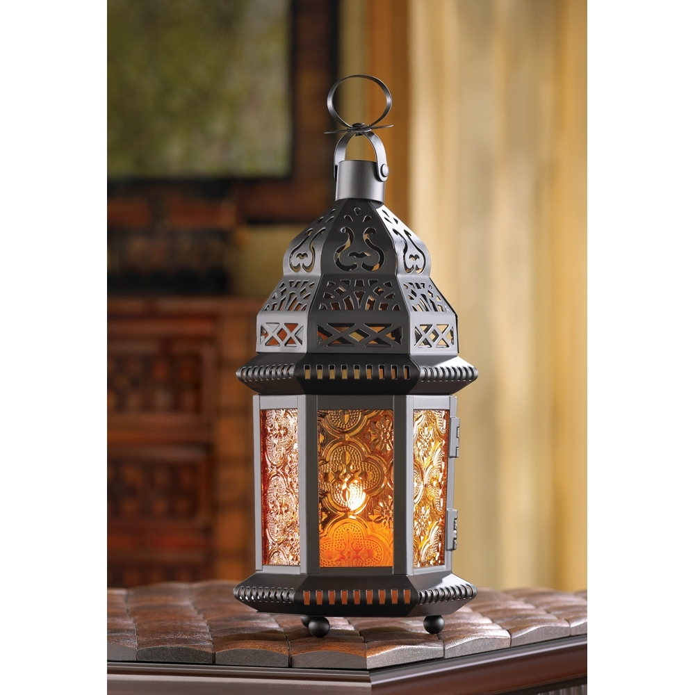 Decorative Candle Lanterns, Large Metal Lantern Candle Outdoor Patio inside Moroccan Outdoor Lanterns (Image 4 of 20)