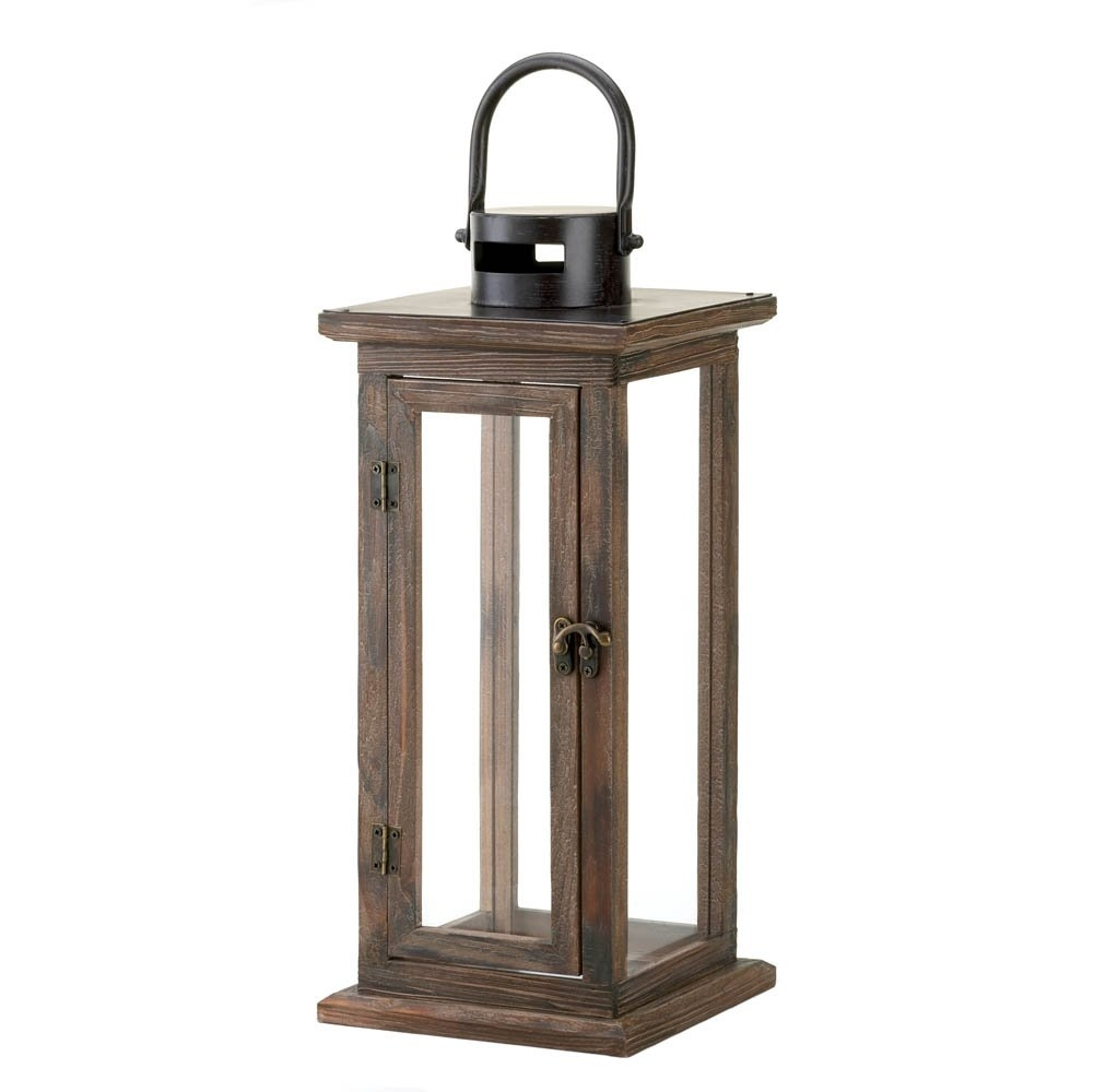 Decorative Candle Lanterns, Large Wood Rustic Outdoor Candle Lantern within Outdoor Wood Lanterns (Image 2 of 20)